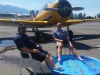 Dave and Drew Watson of Yellow Thunder enjoy our poolside apron after washing their harvards!